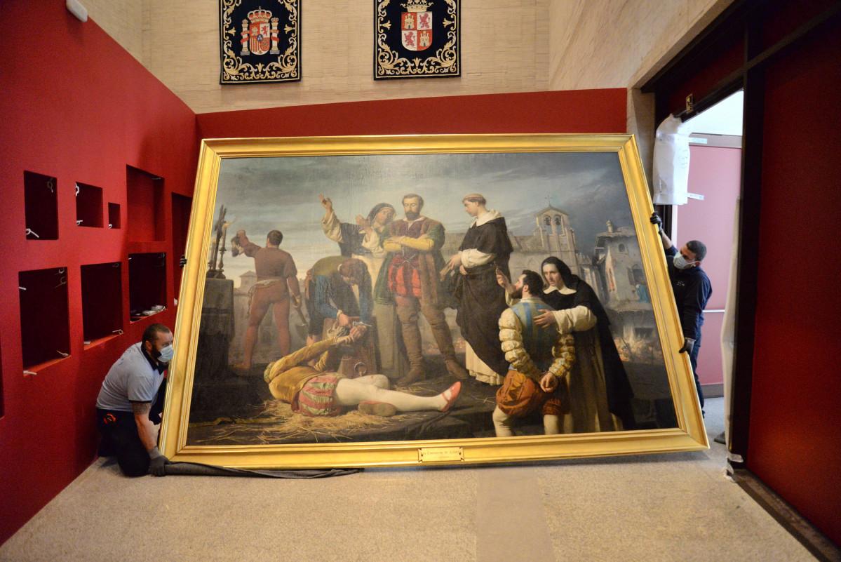 El cuadro de Los comuneros Padrilla, Bravo y Maldonado en el patu00edbulo a su llegada a las Cortes de Castlla y Leu00f3n (1)