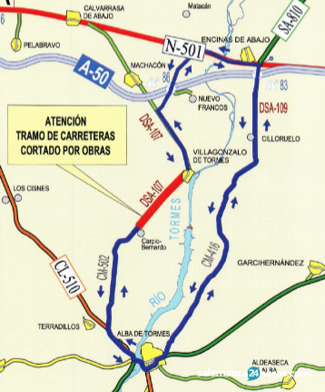 La carretera DSA-107 entre Villagonzalo y Carpio Bernardo, cerrada al tráfico a partir del lunes durante cuatro meses