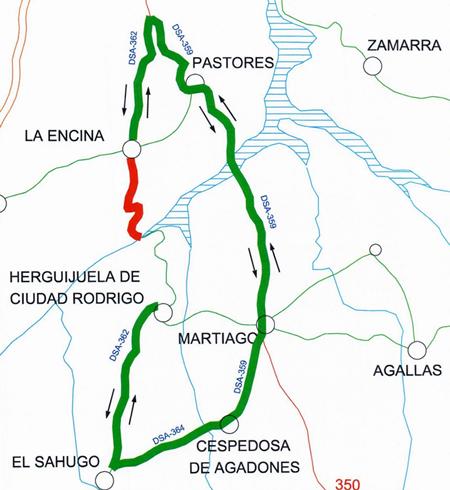Desde este jueves estará cortada la carretera de La Encina al Risco de la Herguijuela