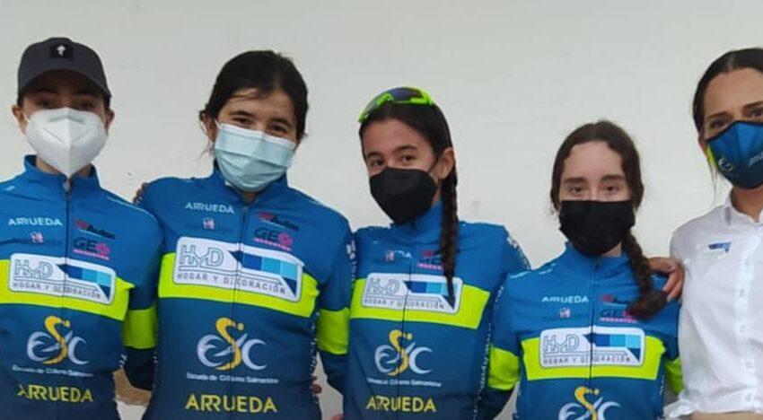 Victoria de Claudia Parra para el HyD Escuela de Ciclismo Salmantina en el GP Albares de la Ribera