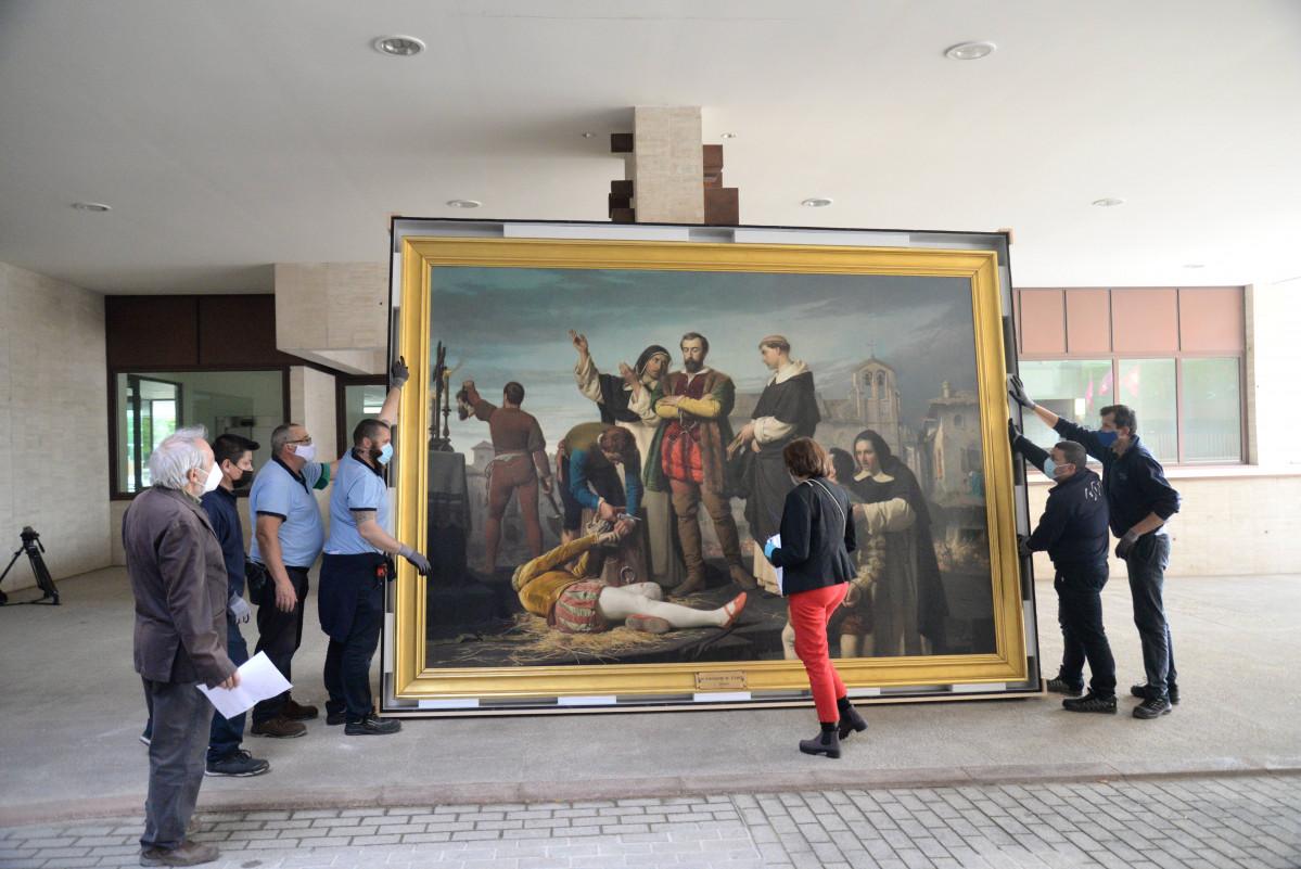 El cuadro de Los comuneros Padrilla, Bravo y Maldonado en el patu00edbulo a su llegada a las Cortes de Castlla y Leu00f3n (3)