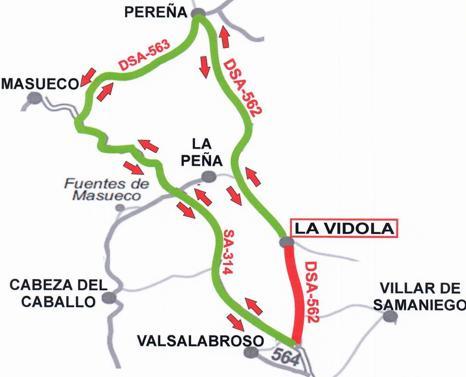 Recorrido alternativo durante el tiempo que la carretera esté cortada al tráfico de vehículos.