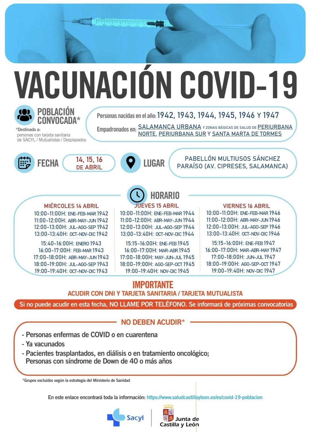 Vacunación en Salamanca miércoles 14 de abril