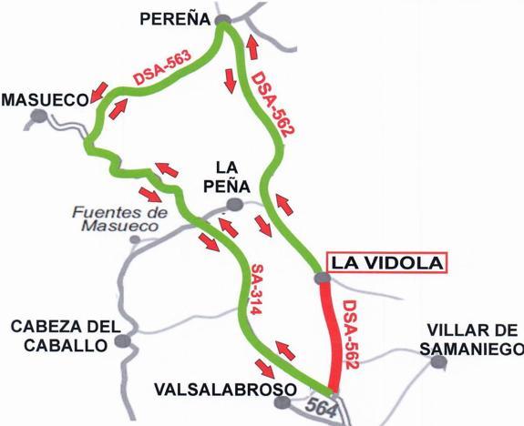 La carretera DSA-562 entre la SA-314 y La Vídola permanecerá cortada al tráfico hasta septiembre