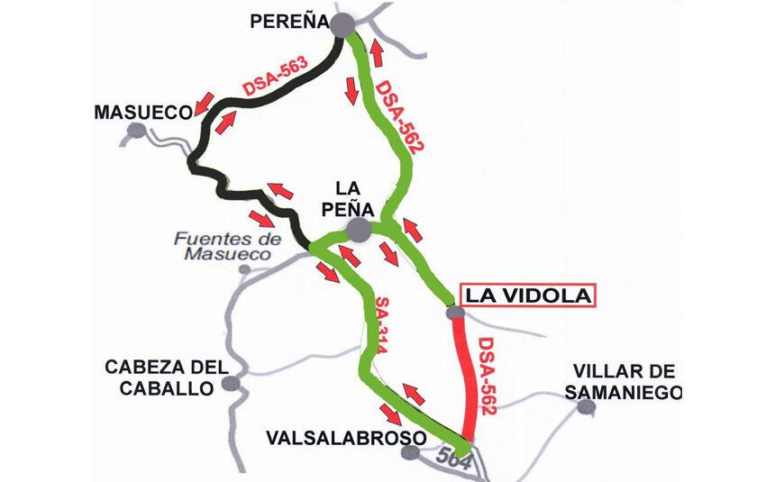 Corte de la carretera DSA-562 entre la SA-314 y La Vídola