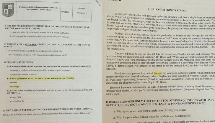 Detectan un error en el examen de inglés de la Ebau de Castilla y León