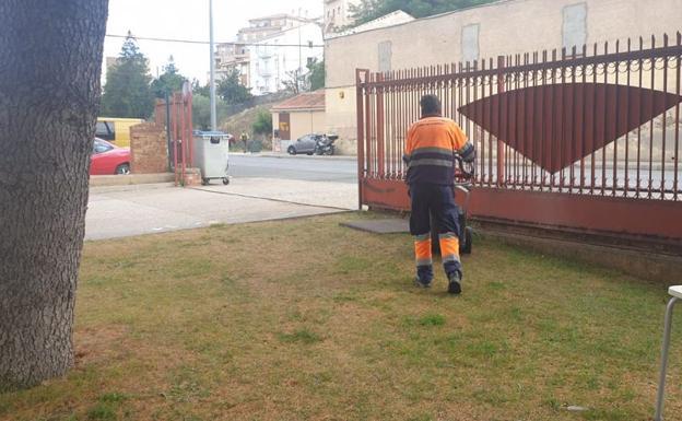 Trabajador realizando labores de mantenimiento de los espacios verdes de Alba de Tormes