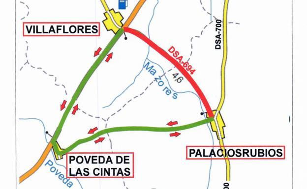 Mapa del corte de la carretera entre ambos municipios y el recorrido recomendado por Poveda.