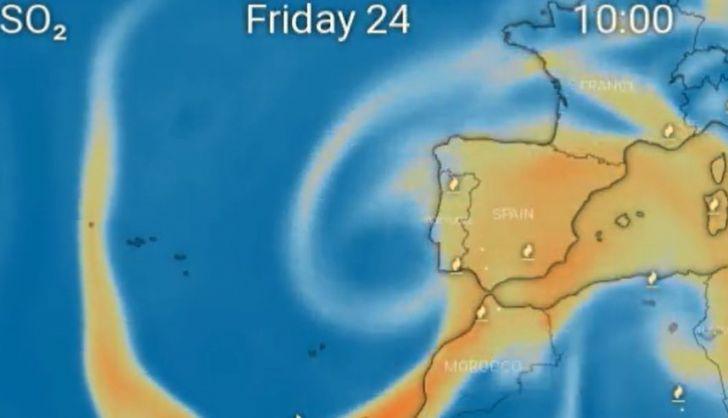 La nube tóxica del volcán de la Palma alcanzará Salamanca y podría provocar lluvia ácida